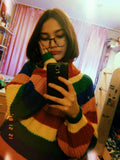 Rainbow Colorful Stripe Print Women Casual Sweaters Autumn Fashion Turtleneck Knitwear Loose Pullovers Jumper Pull Femme - MH