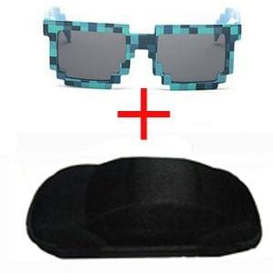 YBZ Vintage Square Novelty Mosaic Sun Glasses Unisex Pixel Sunglasses Trendy Minecraft Glasses With Case Children Gift - MH