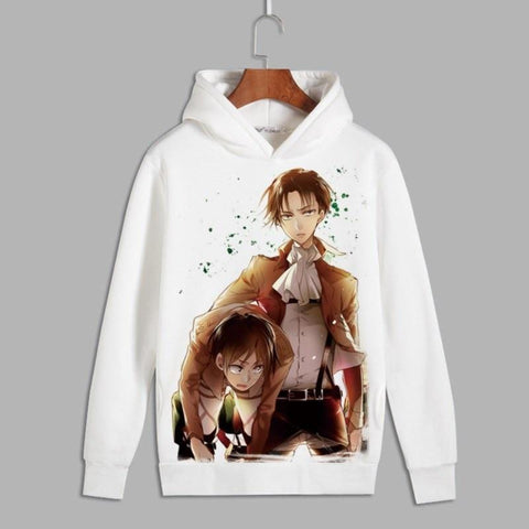 Attack on Titan Levi X Eren Print White Hoodie - MH