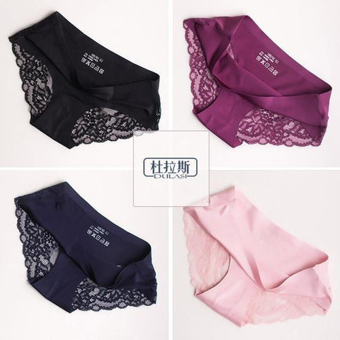 Sexy Panties Lace Women Underwear Seamless Silk Briefs Girls Ladies Underpants Satin Nylon Cotton Crotch DULASI Lingerie 4pcs - MH