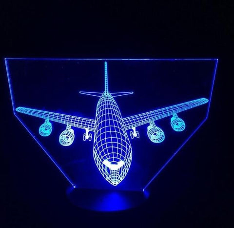 Remote Control Air Plane 3D Light LED Table Lamp Illusion Night Light 7 Colors Changing Mood Lamp 3AA Battery Powered USB Lamp - MH
