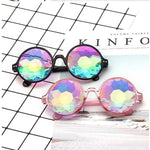 Round Kaleidoscope SunGlasses | Rave Festival Holographic Glasses - MH