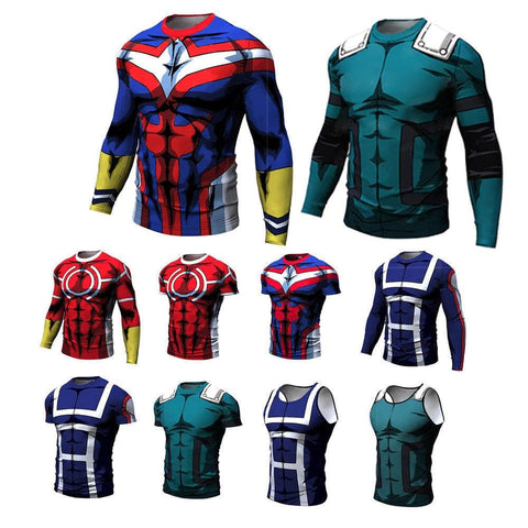 My Hero Academia Compression Long Sleeve and Short Sleeve Tees - MH