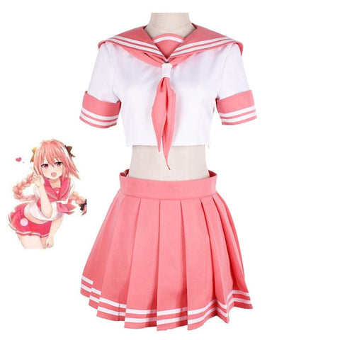 Fate/Grand Order Fate Apocrypha Rider Astolfo Cosplay JK School Uniform Sailor Suit Women Fancy Outfit Anime Halloween Costume - MH