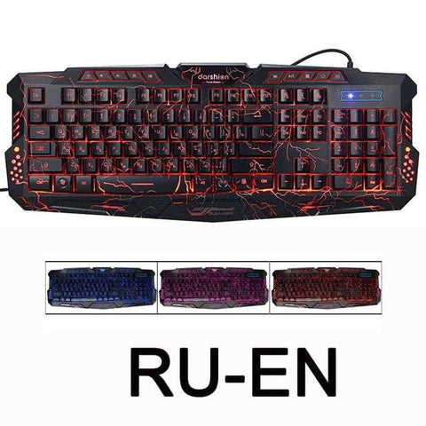 Darshion M300 Russian/English Backlit Keyboard LED USB Wired Colorful Breathing Waterproof Computer Crack Gaming Keyboard - MH
