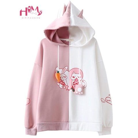 2019 Kawaii Bunny Ear Women Hoodie Cute Rabbit Cat Lovely Sweatshirt Harajuku Soft Girls Anime Pink Pullover Tracksuit Outerwear - MH