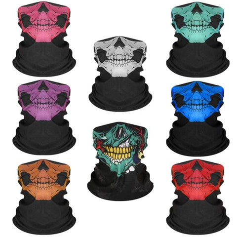 3D Skeleton Skull Seamless Magic Scarf Face Mask Fishing Cycling Ski Bandanas Outdoor Headband Tube Scarf Men Women Neck Scarves - MH