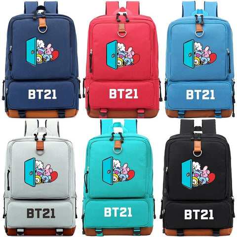 KPOP Cartoon Colorful Pig Rabbit Boy Girl Children School bag Women Bagpack Teenagers Schoolbags Canvas Men Student Backpack - MH
