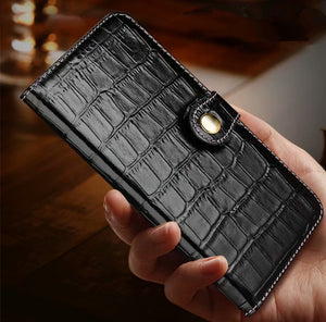 Crocodile Skin Leather Wallet Case For iPhone 11