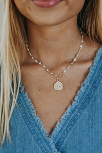 ALV White Dot Coin Necklace