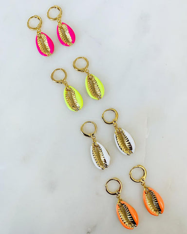 ALV Neon Shell Huggie Hoops- Pink and White
