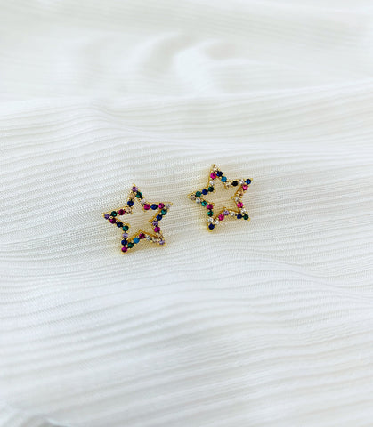 ALV Rainbow Open Star Studs