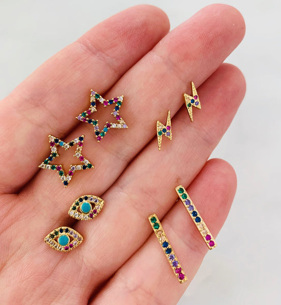 ALV Rainbow Bar Stud Earrings