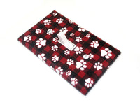 Pet Lover Home Decor - Red and Black Buffalo Plaid Paw Prints - Light Switch Cover Plate