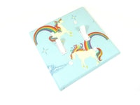 Blue Unicorn Decor Double Light Switch Cover Plate