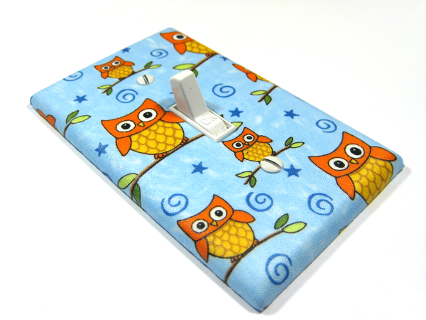Blue Woodland Owl Nursery Decor Light Switch Cover Plate