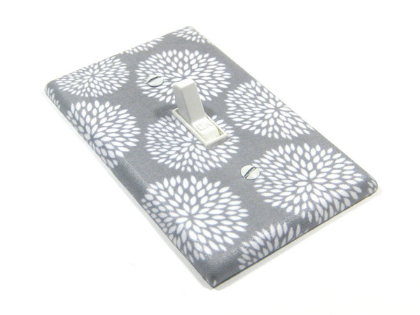Gray and White Mums Light Switch Cover Plate