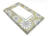 Floral Nursery Decor - Gray Yellow and White Flowers - Light Switch Cover Plate