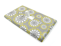 Gray White and Yellow Nursery Decor Light Switch Cover Plate