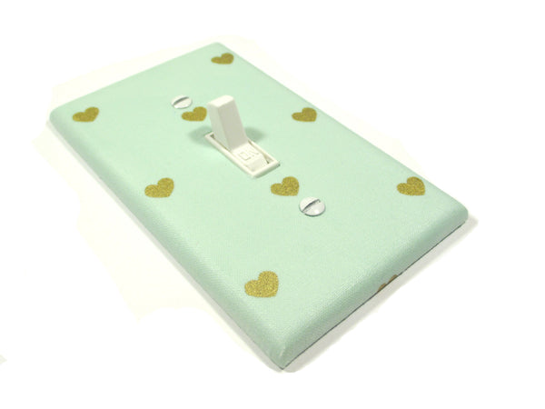 Mint green and gold heart light switch cover plate