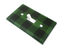 Black and Green Buffalo Plaid Light Switch Cover Plate