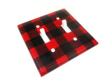 Double Toggle Buffalo Plaid Red and Black Light Switch Cover Plate