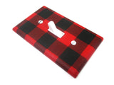 Rustic Nursery Decor Light Switch Cover Plate Buffalo Plaid Red and Black