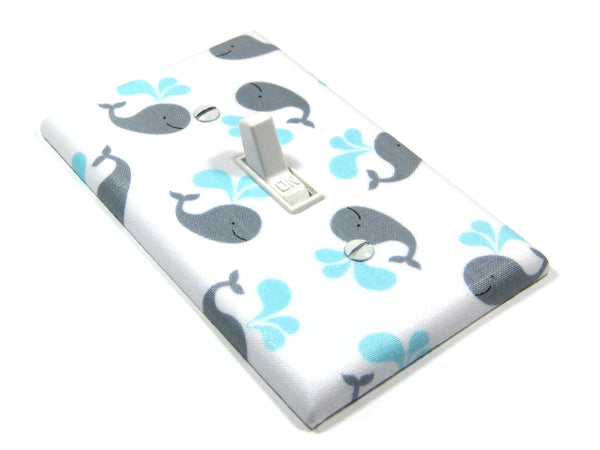 Gray Whale Nursery Decor Light Switch Cover Plate