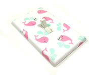 Pink whale nursery decor light switch cover plate