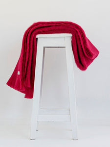 MOHAIR Blanket Throw or Knee Rug - PINKS / REDS