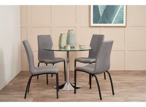 BECKY Dining Table and Asama Chairs Fabric x 4