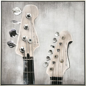 GUITAR KEYS - Framed Print with Hand Painting