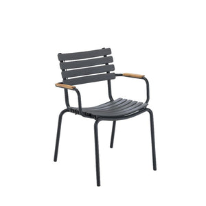 CLIPS Outdoor Dining Chair With Bamboo Armrest - Black Frame  (Stackable)