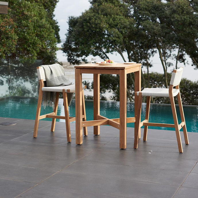 HAAST Bar Table 700w Table plus 2x Jackson Bar Chairs - Teak - Devon Lifestyle