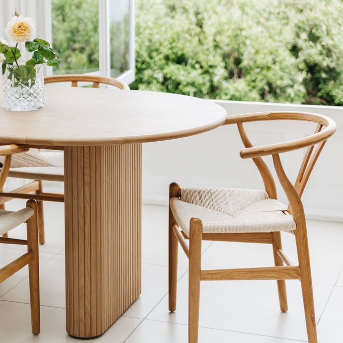 PALLISER Table 2200w plus x6 Wishbone Dining Chairs