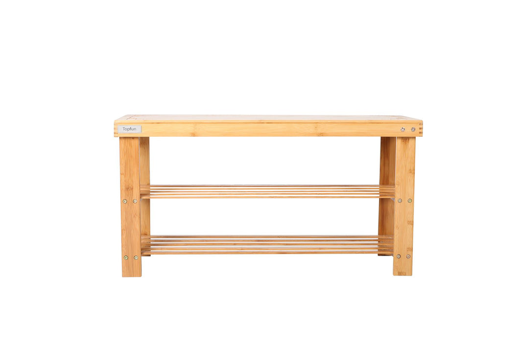 Topfun Living Bamboo 3 Tier Shoe Rack Bench, Entryway Bench, Perfect for all kinds of Room