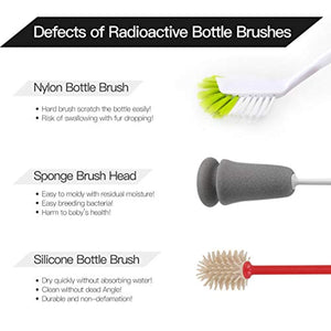 CLEANHOME Silicone Bottle Brush Cleaner Brush For Narrow Neck Bottle Sport Bottle,Small,Red