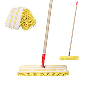 CLEANHOME Microfiber Flip Mop for Tile Floor with 2 Washable Mop Pads-Professional Hardwood Floor Dust Mop-360 Dry and Wet Cleaning Mopping,Yellow