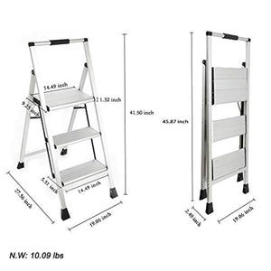Topfun Lightweight Aluminum 3 Step Ladder Folding Step Stool Multi-Use Non-Slip Wide Platform Ultra-Light Sturdy Ladder 225lbs Capacity Fully Assembled for Household and Office