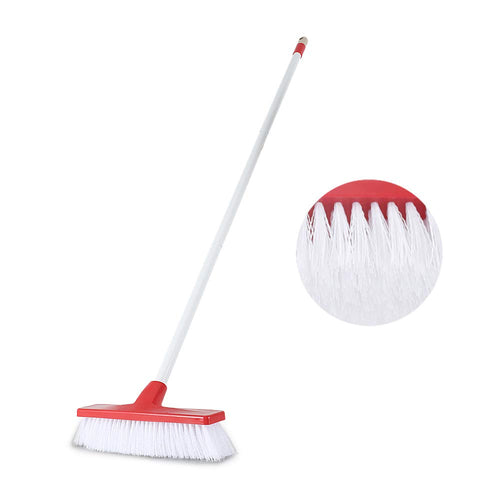 CLEANHOME,Professional Angled Push Broom with Long Handle - 46 Inches Stiff Bristles, Ideal for All Types of Outdoor Patios, Garages, Decks, Sidewalks, and Other Outdoor Surfaces,Red