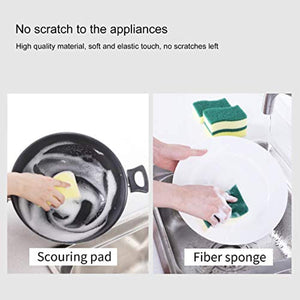 CLEANHOME Household Eraser Sponge Sheets Magic Scouring Pad Non Scratch Home Kitchen Multi-Function Dish,pan Cleaner Yellow-Green-12 Pack