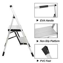 Load image into Gallery viewer, Topfun Lightweight Aluminum 3 Step Ladder Folding Step Stool Multi-Use Non-Slip Wide Platform Ultra-Light Sturdy Ladder 225lbs Capacity Fully Assembled for Household and Office