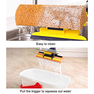 AKOMA Sponge Mop Home Commercial Use Tile Floor Bathroom Garage Cleaning with Squeegee and Extendable Telescopic Long Handle 41-53 Inches Easily Dry Wringing