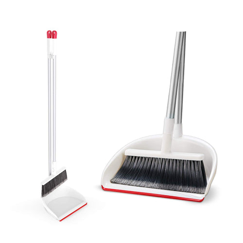 CLEANHOME Broom and Dustpan, Ecofriendly Long Handle Broom Dustpan Set for Home Kitchen Classroom Office Indoor Cleanning,White &Red