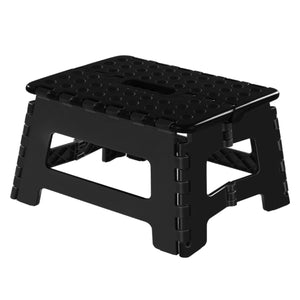 Stooder  Folding Step Stool, 9 inch Non-Slip Footstool for Adults or Kids, Sturdy Safe Enough, Holds up to 300 Lb, Foldable Step Stools Storage/Open Easy, for Kitchen,Toilet,Office,RV (Black, 9inch)