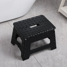 Load image into Gallery viewer, Stooder  Folding Step Stool, 9 inch Non-Slip Footstool for Adults or Kids, Sturdy Safe Enough, Holds up to 300 Lb, Foldable Step Stools Storage/Open Easy, for Kitchen,Toilet,Office,RV (Black, 9inch)