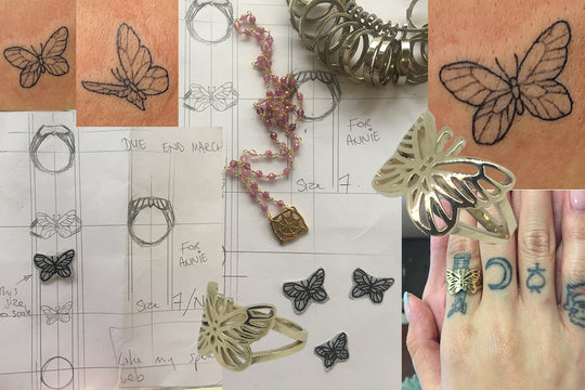 Annie's Butterfly – transform your tattoo into a piece of handmade jewellery that will last a lifetime and to be passed down through the generations.