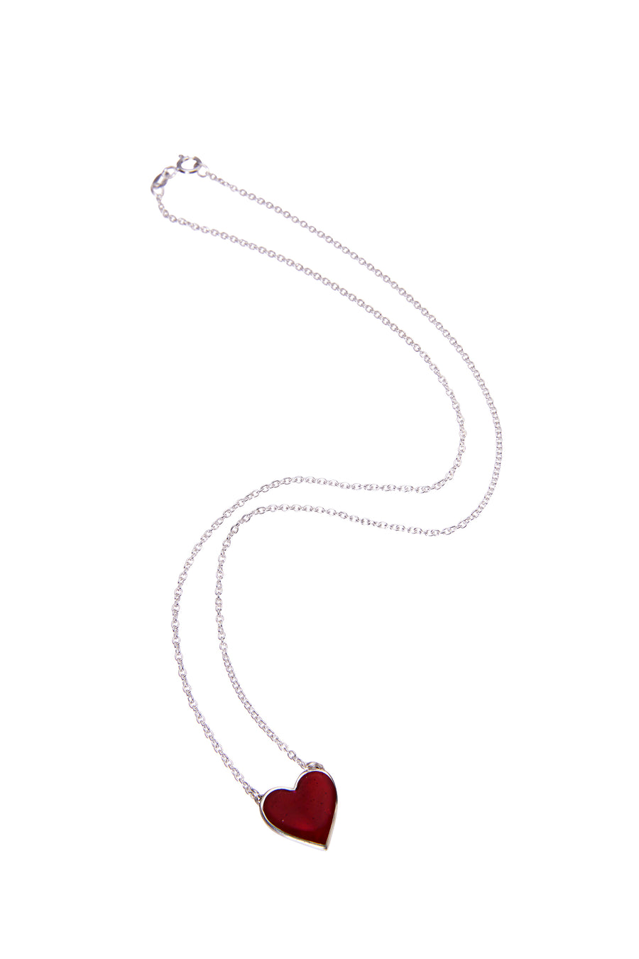 Bleeding Heart Necklace Silver