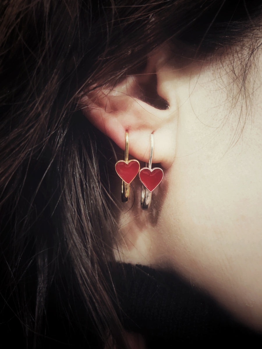 Red Heart Safety Pin Enamel Earring Silver