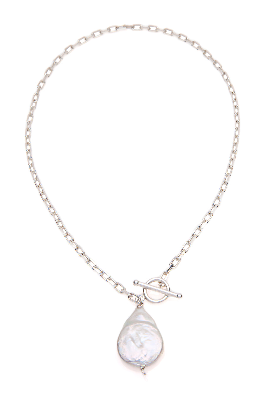Freshwater Pearl Fob Necklace Silver